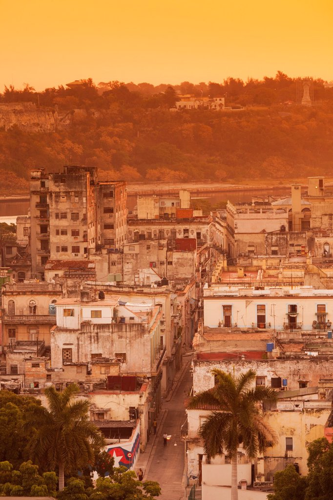Cuba, Havana, elevated view above Havana Vieja, Old Havana, morning : Stock Photo