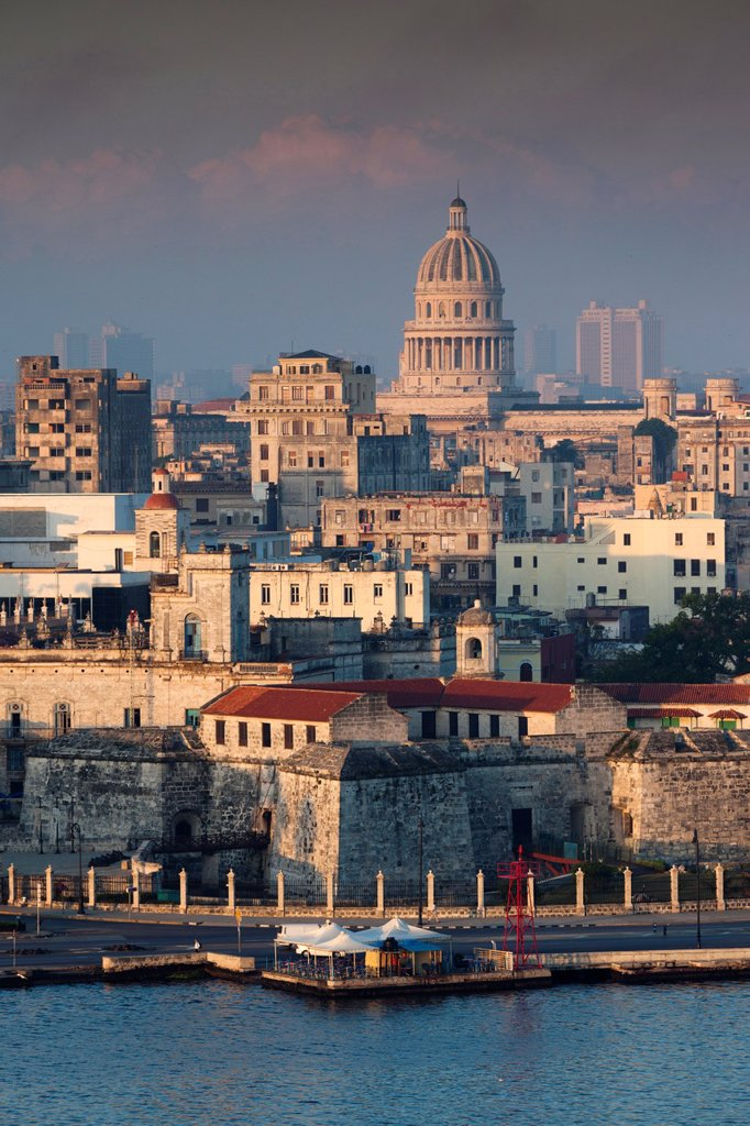 Stock Photo: 1566-1164750 Cuba, Havana, Havana Vieja, elevated view of buildings along Havana Bay, dawn