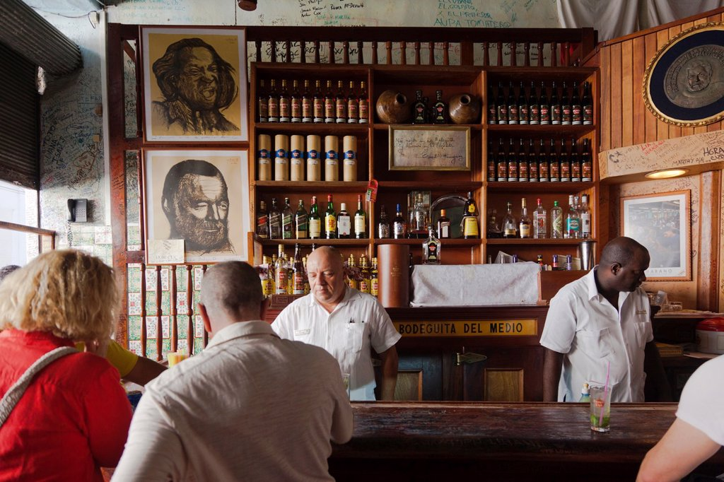 Stock Photo: 1566-1164837 Cuba, Havana, Havana Vieja, La Bodeguita del Medio, birthplace of the Mojito cocktail, interior, NR