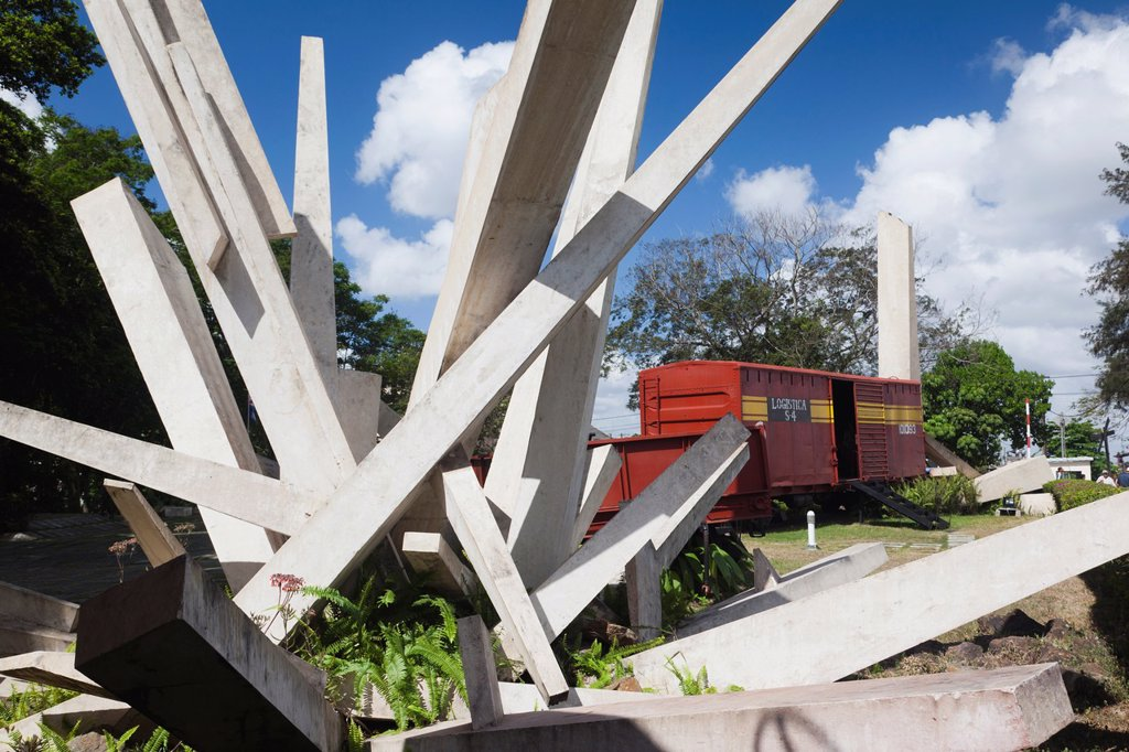 Cuba, Santa Clara Province, Santa Clara, Monumento a la Toma del Tren Blindado, monument to the attack on an armored train by Che Guevara, the armored train : Stock Photo