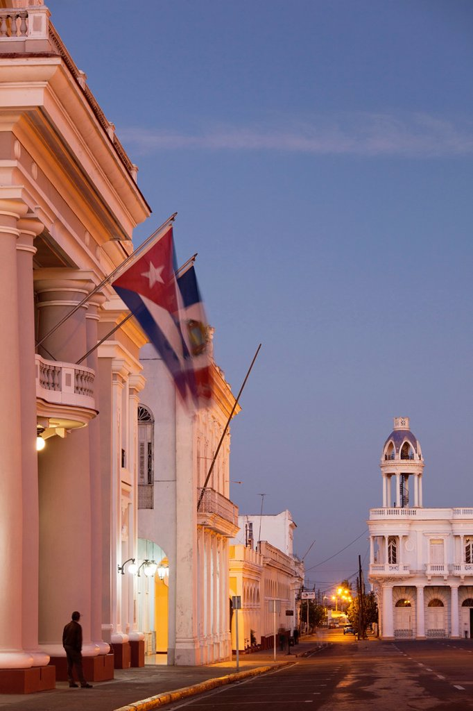 Stock Photo: 1566-1165085 Cuba, Cienfuegos Province, Cienfuegos, Palacio de Gobierno, government house, and Casa de la Cultura Benjamin Duarte, dawn