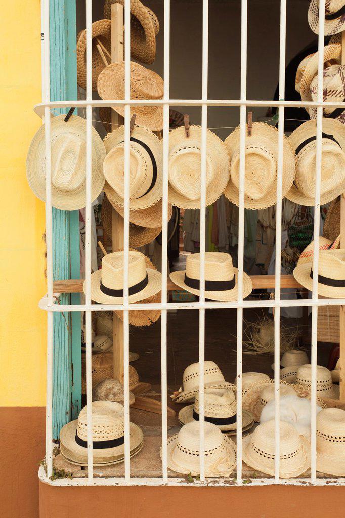 Cuba, Sancti Spiritus Province, Trinidad, Cuban Souvenirs, straw hats : Stock Photo