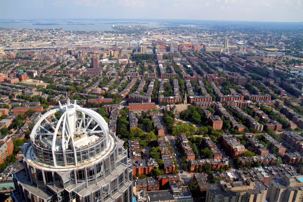 Stock Photo: 1566-1165556 Massachusetts, Boston, Prudential Center, Skywalk Observatory, aerial, panoramic view, 111 Huntington Avenue, skyscraper, South End, South Boston, Western Way,