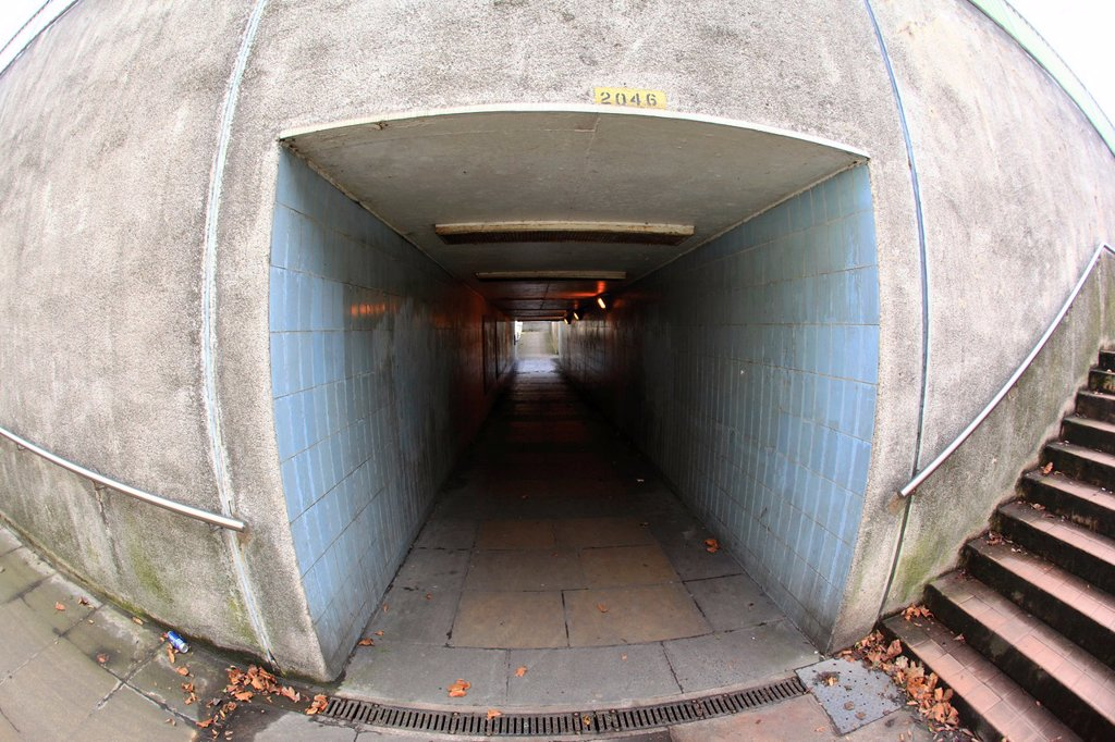Stock Photo: 1566-1165596 An urban pedestrian subway or underpass, Kidderminster, Worcestershire, England, Europe