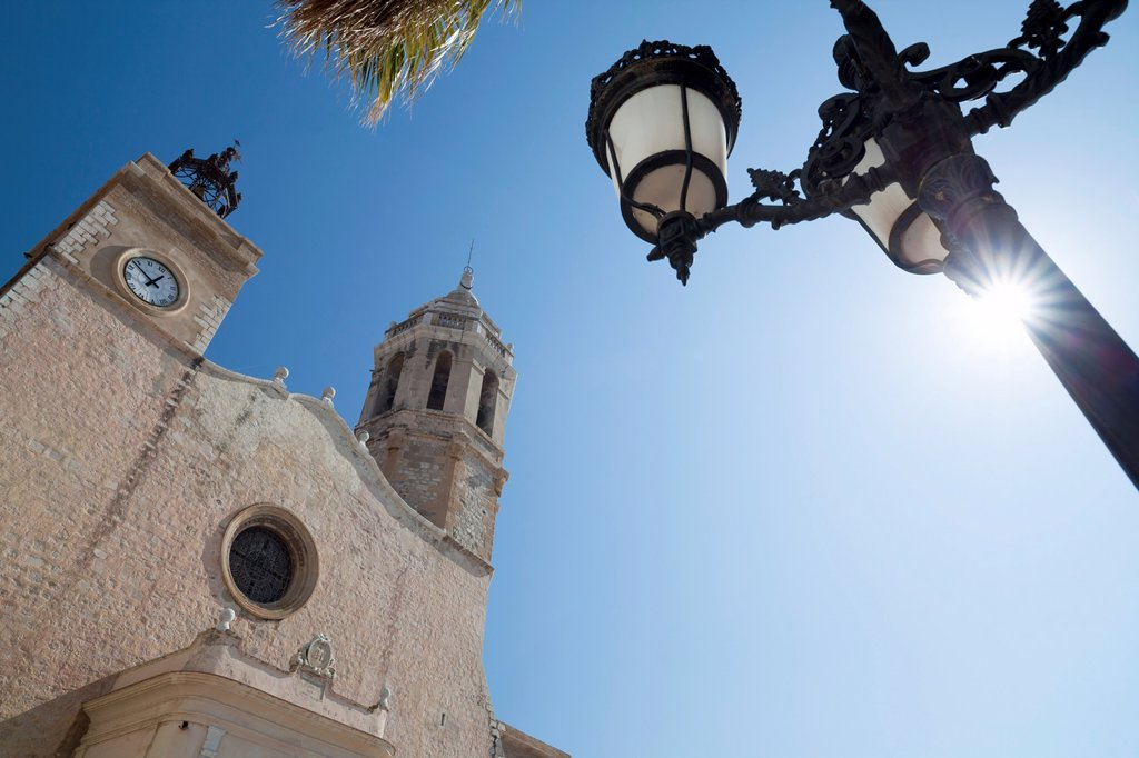 sitges,catalonia,spain sant bartomeu i santa tecla church : Stock Photo