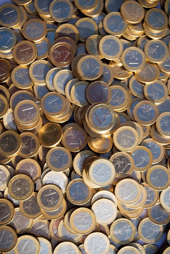 Stock Photo: 1566-1165931 Piles of euro coins