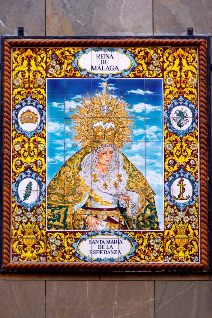 Malaga Spain  Mosaic of Our Lady of Hope in the historic center of Málaga : Stock Photo