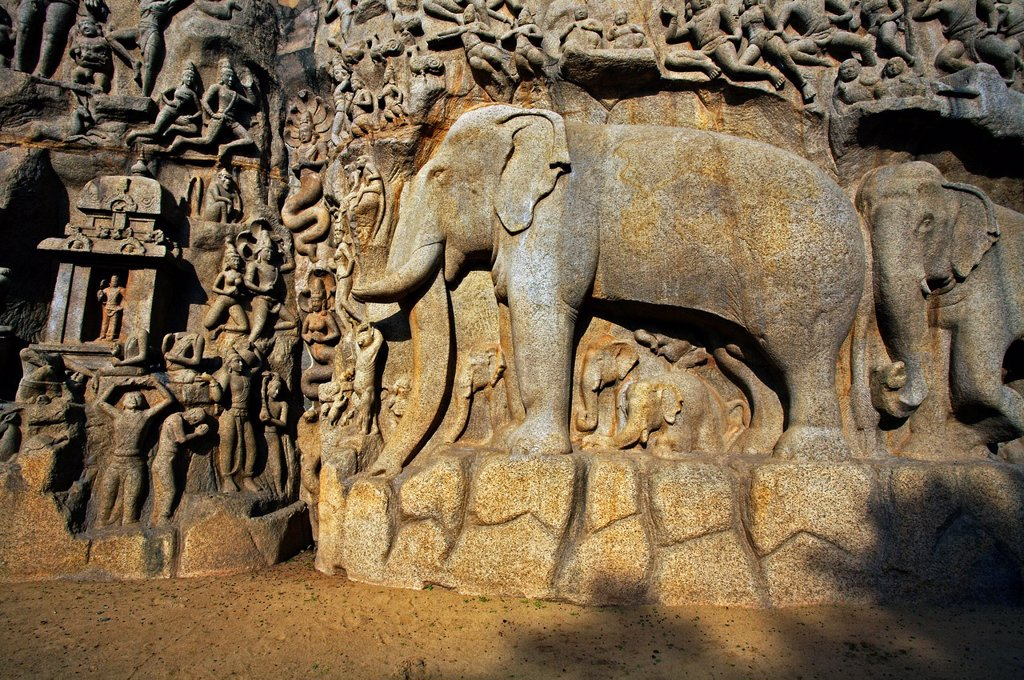 Stock Photo: 1566-1166761 Low relief of Arjuna´s Penance the Descent of the Ganges, Mahabalipuram Mamallapuram, Tamil Nadu , India.