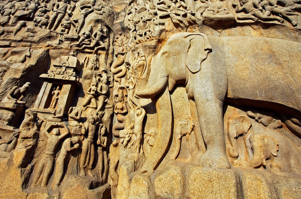 Stock Photo: 1566-1166764 Low relief of Arjuna´s Penance the Descent of the Ganges, Mahabalipuram Mamallapuram, Tamil Nadu , India.