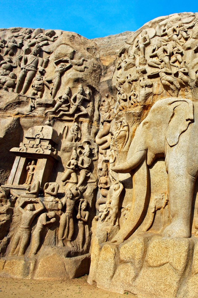 Stock Photo: 1566-1166765 Low relief of Arjuna´s Penance the Descent of the Ganges, Mahabalipuram Mamallapuram, Tamil Nadu , India.