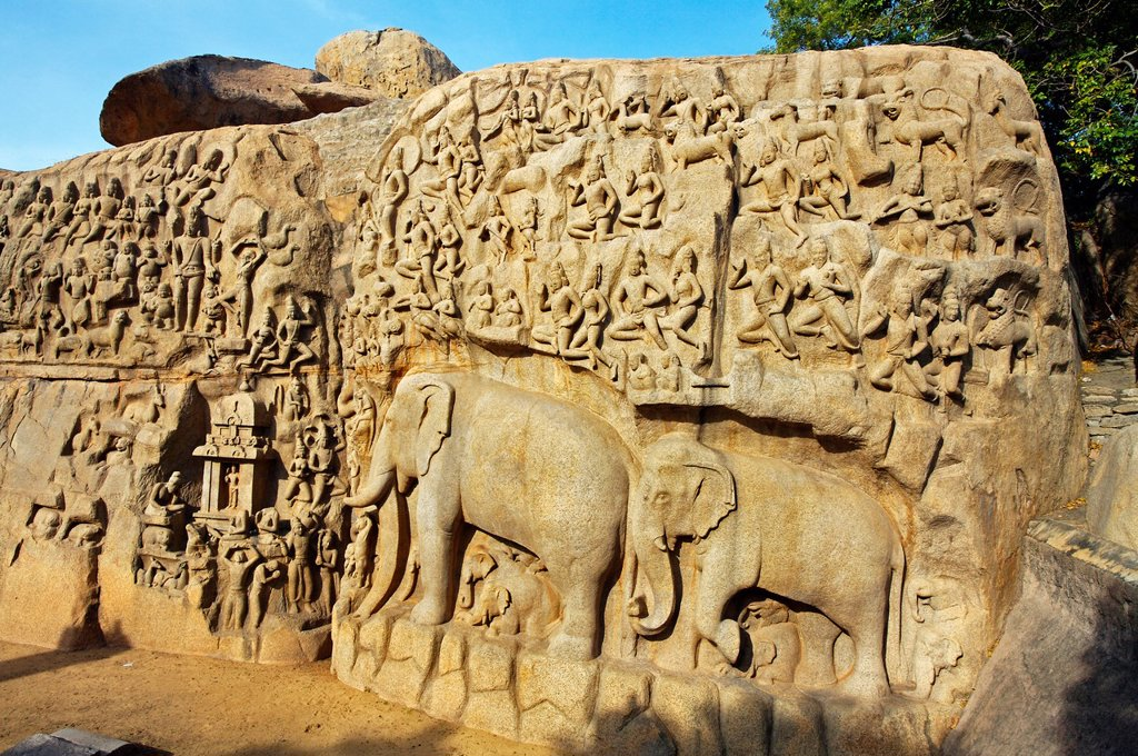 Stock Photo: 1566-1166769 Low relief of Arjuna´s Penance the Descent of the Ganges, Mahabalipuram Mamallapuram, Tamil Nadu , India.