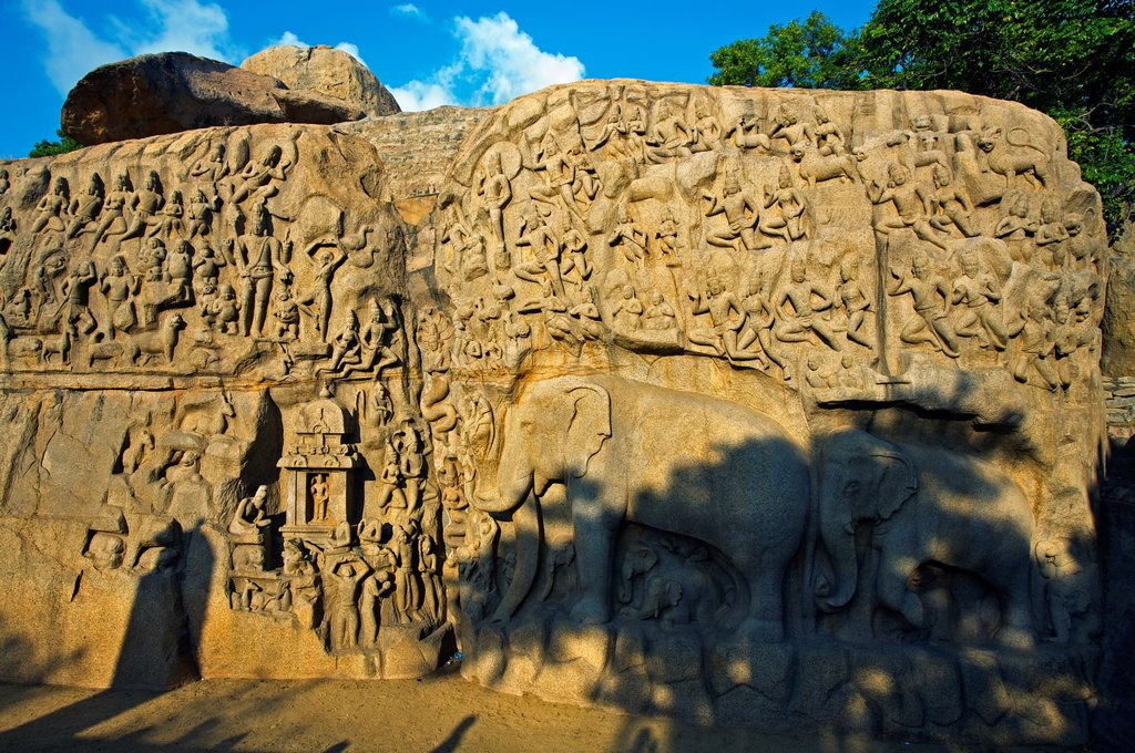 Stock Photo: 1566-1166808 Low relief of Arjuna´s Penance the Descent of the Ganges, Mahabalipuram Mamallapuram, Tamil Nadu , India.