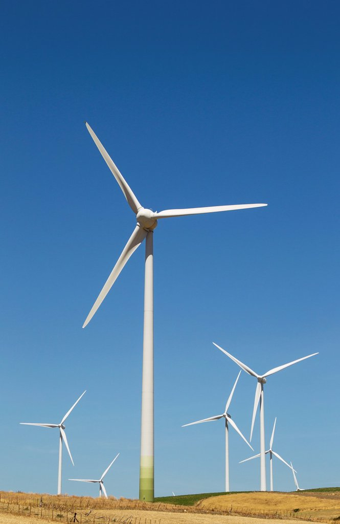 Stock Photo: 1566-1167475 Windmills on a wind farm near Zahara de los Atunes  Cádiz province, Andalucía, Spain