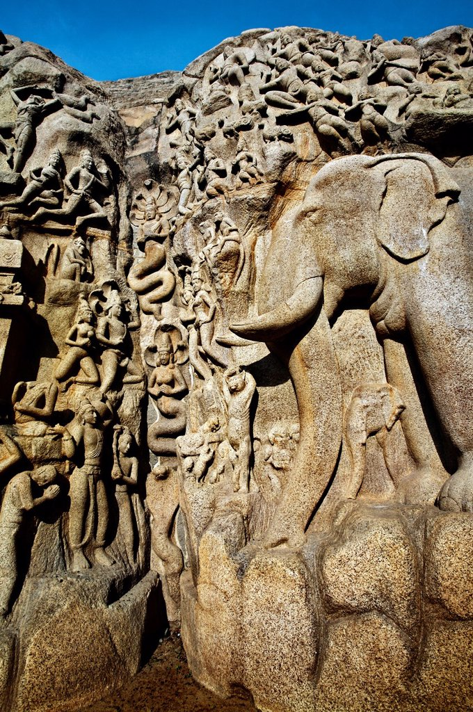 Stock Photo: 1566-1167629 Low relief of Arjuna´s Penance the Descent of the Ganges, Mahabalipuram Mamallapuram, Tamil Nadu , India.