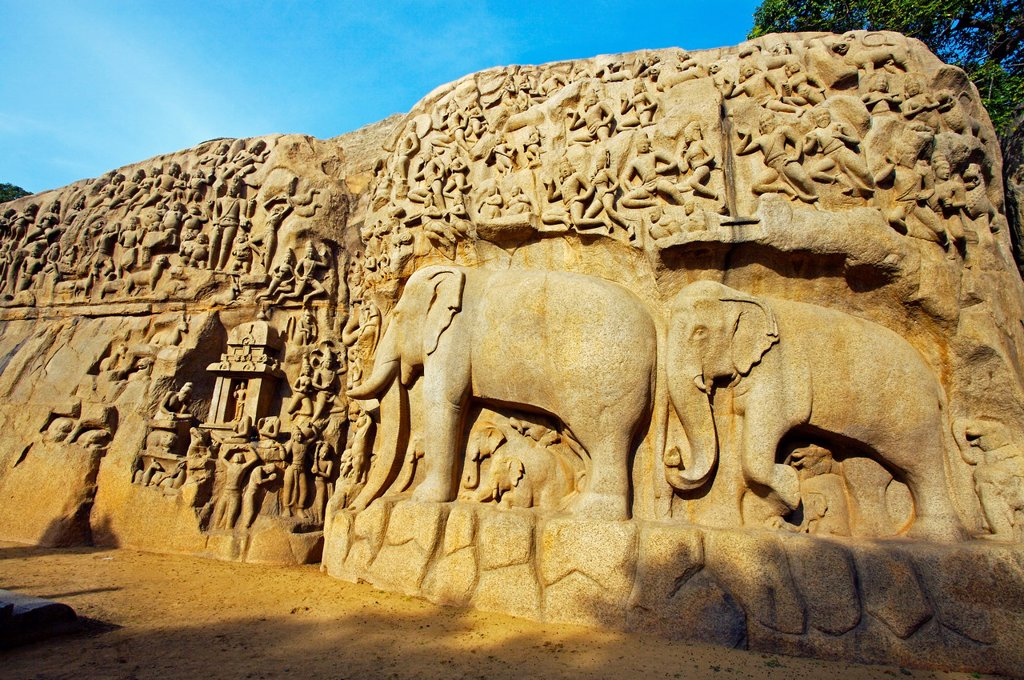 Stock Photo: 1566-1167631 Low relief of Arjuna´s Penance the Descent of the Ganges, Mahabalipuram Mamallapuram, Tamil Nadu , India.