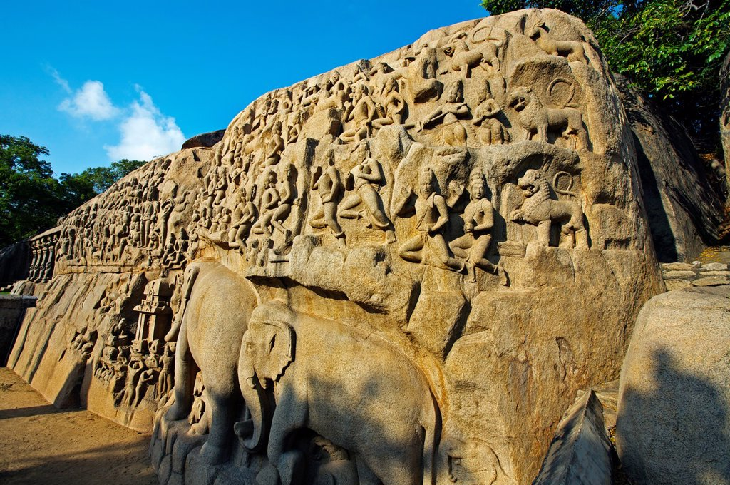 Stock Photo: 1566-1167669 Low relief of Arjuna´s Penance the Descent of the Ganges, Mahabalipuram Mamallapuram, Tamil Nadu , India.