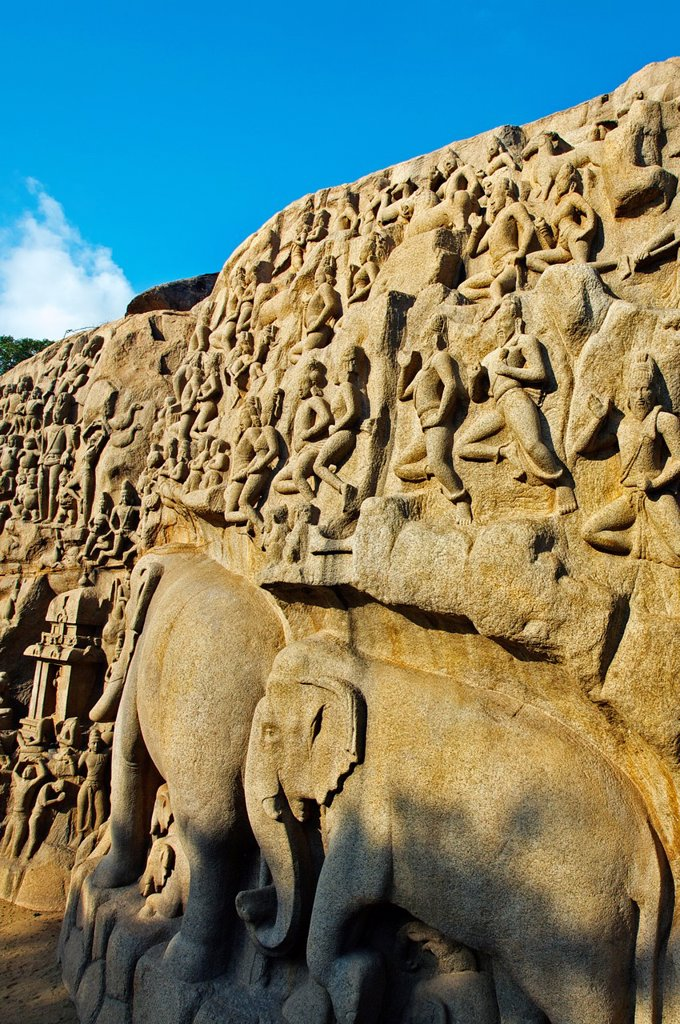 Stock Photo: 1566-1167670 Low relief of Arjuna´s Penance the Descent of the Ganges, Mahabalipuram Mamallapuram, Tamil Nadu , India.