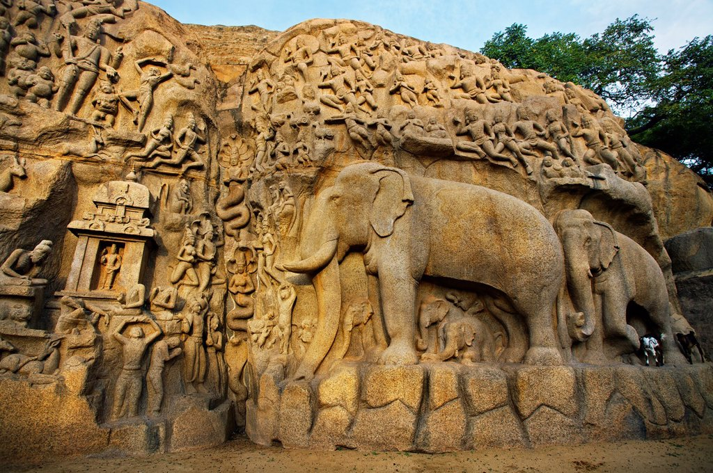Stock Photo: 1566-1167693 Low relief of Arjuna´s Penance the Descent of the Ganges, Mahabalipuram Mamallapuram, Tamil Nadu , India.