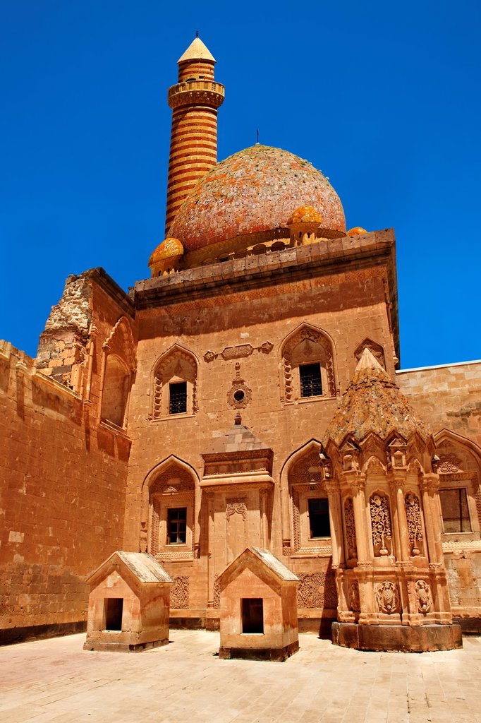 Stock Photo: 1566-1168224 Courtyard of the 18th Century Ottoman architecture of the Ishak Pasha Palace Turkish: Ishak Pasa Sarayi, Agri province of eastern Turkey.