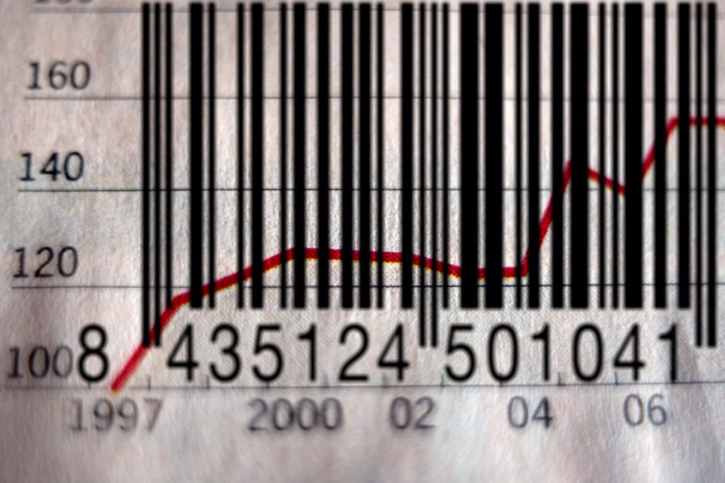 Stock Photo: 1566-1168300 grafico economico, impuesto, tanto por ciento, inversión, hoja de valores bancarios, la bolsa, barcode, economic graphic, tax, interest rates, investment, stock market, banking stocks, stock exange,