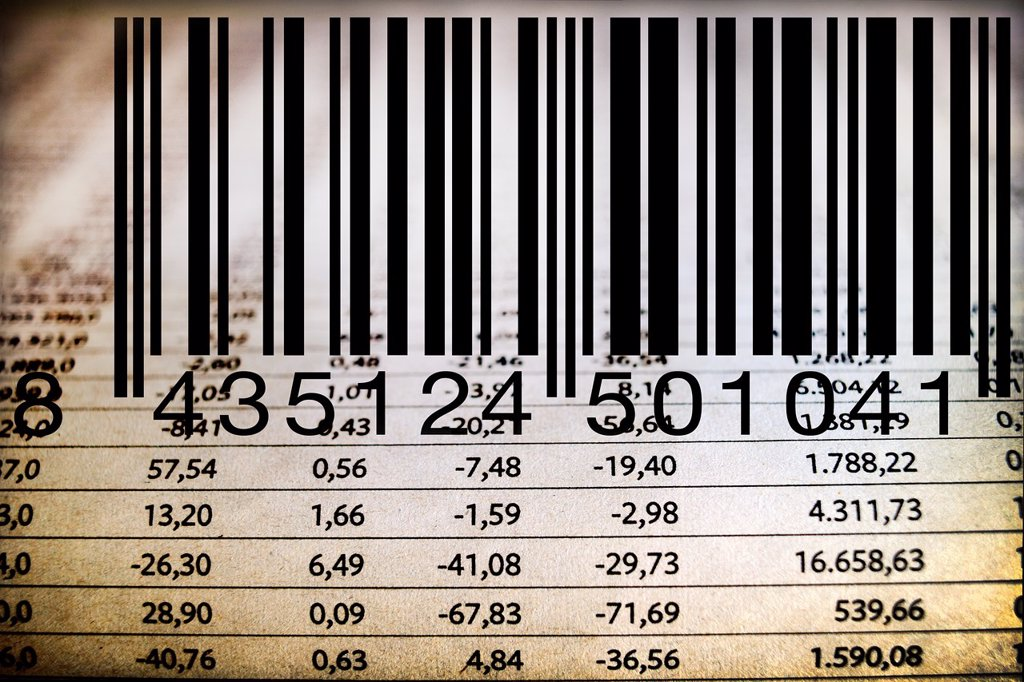 Stock Photo: 1566-1168307 codigo de barras, impuesto, hoja de valores bancarios, la bolsa, tax, Barcode, interest rates, investment, stock market, banking stocks, stock exange,