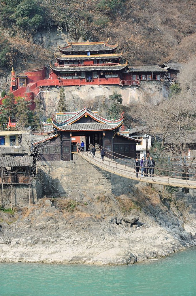 Stock Photo: 1566-1168410 China, Sichuan, Luding, Luding bridge over Dadu river  The bridge dates from the Qing Dynasty and is considered a historical landmark  Is was captured during the Long March in may 1935 by the Chinese Red Army fighting against the nationalist forces