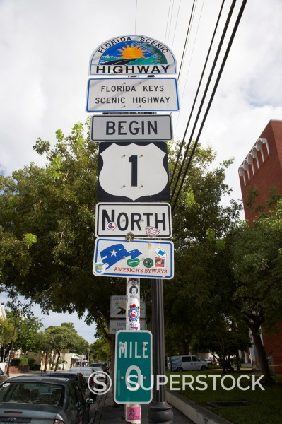 Stock Photo: 1566-1168510 us route 1 mile marker 0 start of the highway key west florida usa