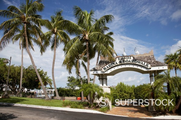 bayside marina and boardwalk islamorada florida keys usa : Stock Photo