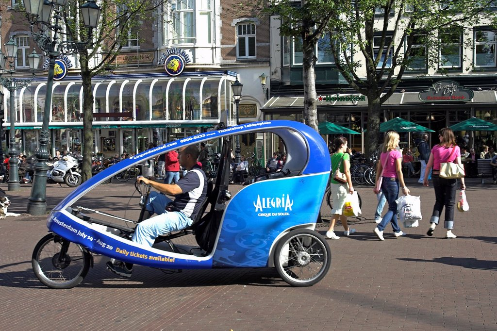 Pedal power tricycle Wieler Taxi on Leidseplein Amsterdam The Netherlands : Stock Photo