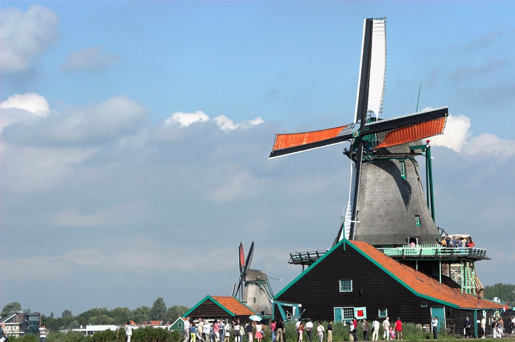 Stock Photo: 1566-1168639 Visitors at Zaanse Schans working windmill museum village near Amsterdam The Netherlands