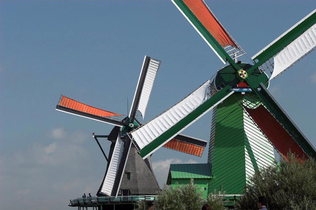 Stock Photo: 1566-1168640 Zaanse Schans working windmill museum village near Amsterdam The Netherlands
