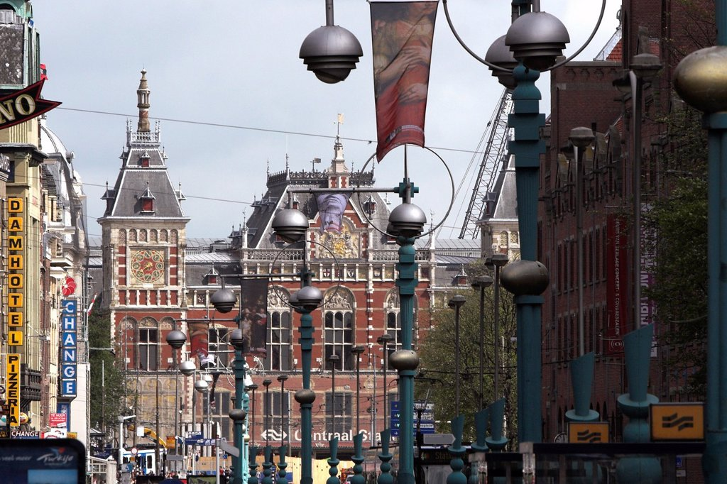 Stock Photo: 1566-1168652 View of Centraal Station from the Damrak Amsterdam The Netherlands