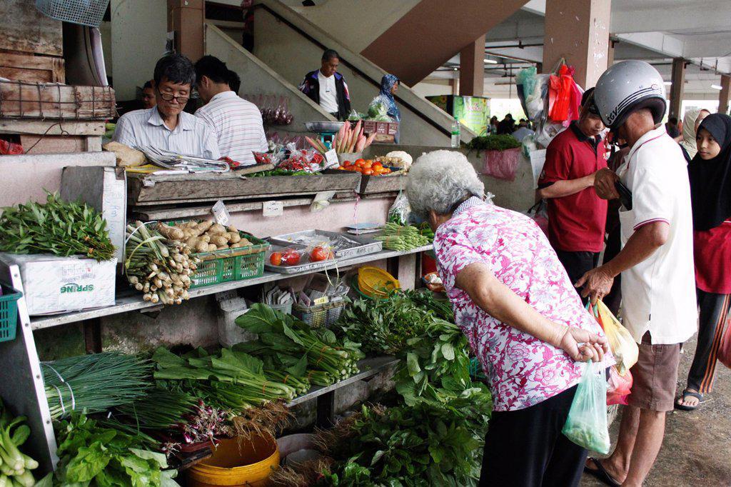 Stock Photo: 1566-1169004 Traditional market, stand selling vegetables of Kuala Kangsar, Perak, Malaysia.