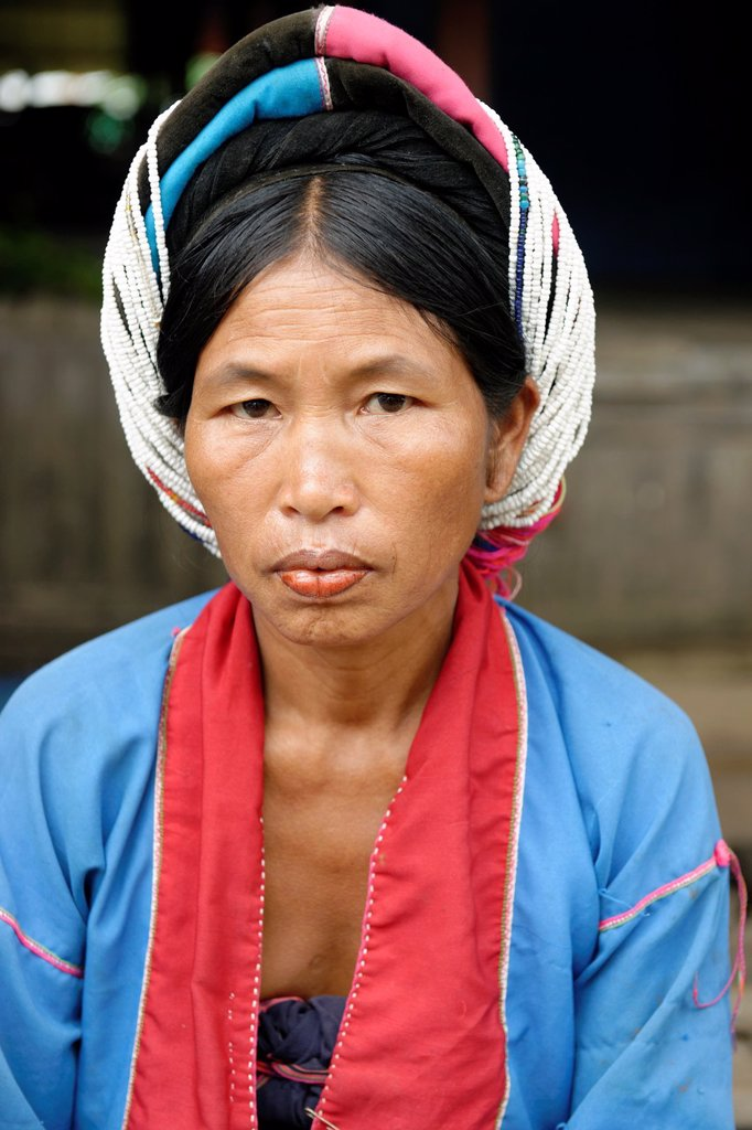 Stock Photo: 1566-1169191 The women wear original costumes made of hoops and pearls because of the legend of nagi or Princess Snake  Palaung village  Palaung is a Mon–Khmer ethnic minority found in Shan State of Burma, Yunnan province of China and northern Thailand  Hsipaw area  S. The women wear original costumes made of hoops and pearls because of the legend of nagi or Princess Snake  Palaung village  Palaung is a Mon–Khmer ethnic minority found in Shan State of Burma, Yunnan province of China and northern Thailand  Hs