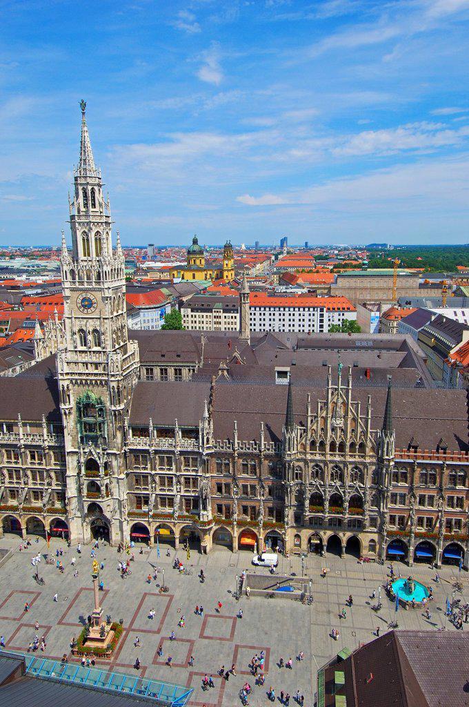 Munich, Neues Rathaus, New Town Hall, Marienplatz, Bavaria, Germany : Stock Photo