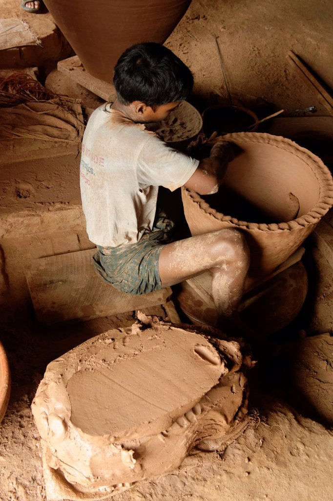 Stock Photo: 1566-1169460 Nwe Nyein is a town of pottery  Almost all the inhabitants earn their living by making various designs of pot  Along the Irrawady river  Mandalay Division  Burma  Republic of the Union of Myanmar