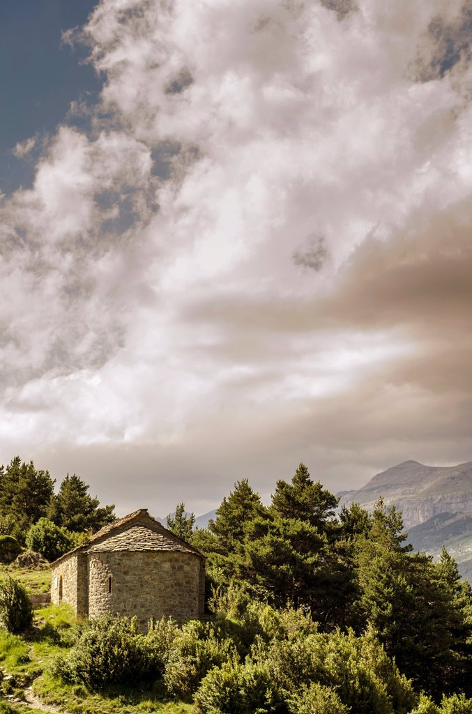 Stock Photo: 1566-1169568 San Juan y San Pablo chapel in Tella, Escuain valley, Huesca Pyrenees, Aragon, Spain