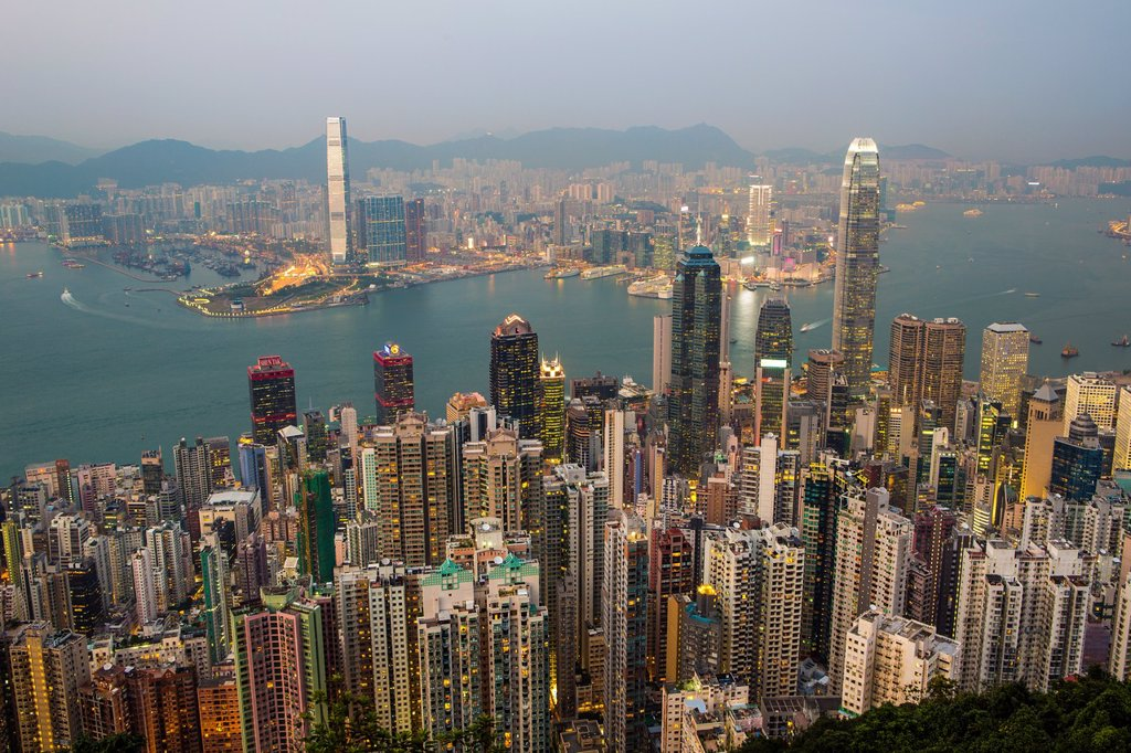 Stock Photo: 1566-1169715 Hong Kong City  Sunset from Victoria Peak , Hong Kong Island and Kowloon,Financial Center Bldg