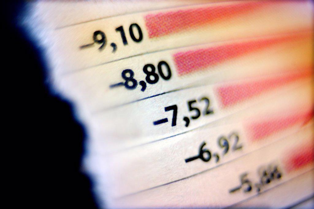 Stock Photo: 1566-1169774 impuesto, tanto por ciento, inversión, hoja de valores bancarios, la bolsa, tax, interest rates, investment, stock market, banking stocks, stock exange,