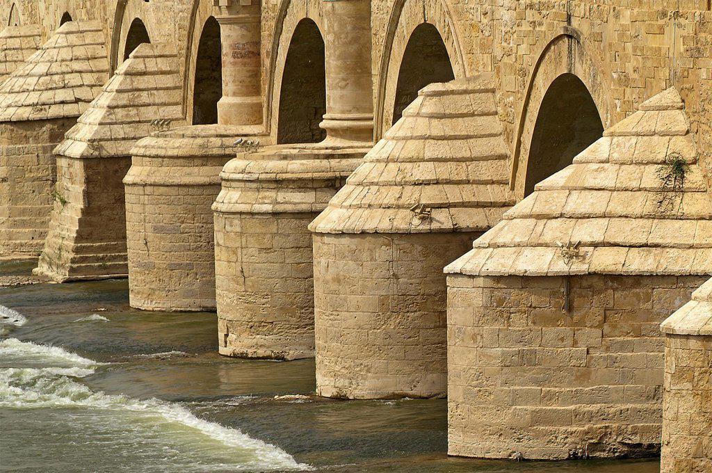 Córdoba Spain  Detail of the Roman bridge over the Guadalquivir River in the historic city of Cordoba : Stock Photo