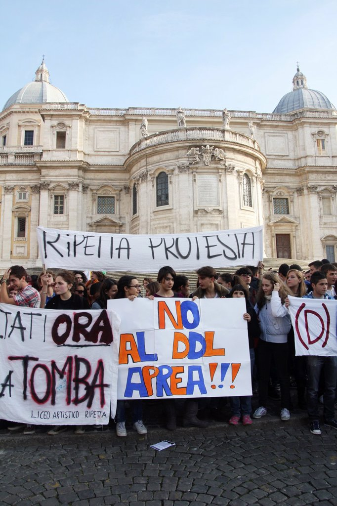 Stock Photo: 1566-1170340 10 October 2012 Students and teachers protesting against the school cuts by the monti government in rome italy