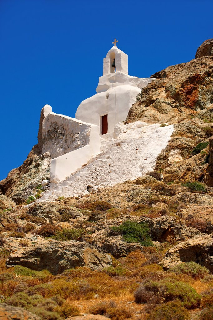 Stock Photo: 1566-1170424 Hill top Orthodox cave church above Naxos Thira, Naxos Island, Greek Cyclades Islands