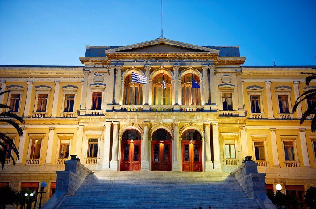 Stock Photo: 1566-1170434 The Neo Classic City Hall of Ermoupolis, Miaoulis Square, Syros  S  , Greek Cyclades Islands