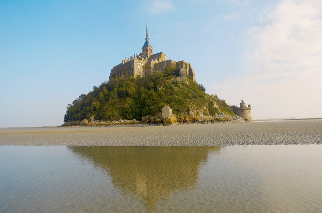Mont Saint-Michel at low tide- Brittany - France : Stock Photo