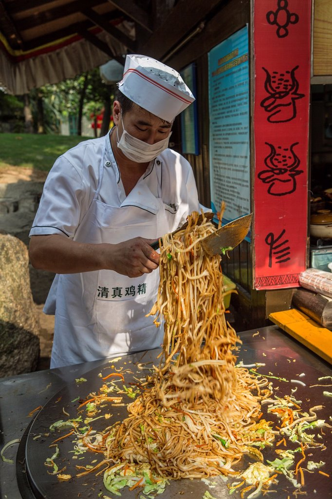Stock Photo: 1566-1170629 China , Shenzhen City, Splendid China Park, cook , frying noodles
