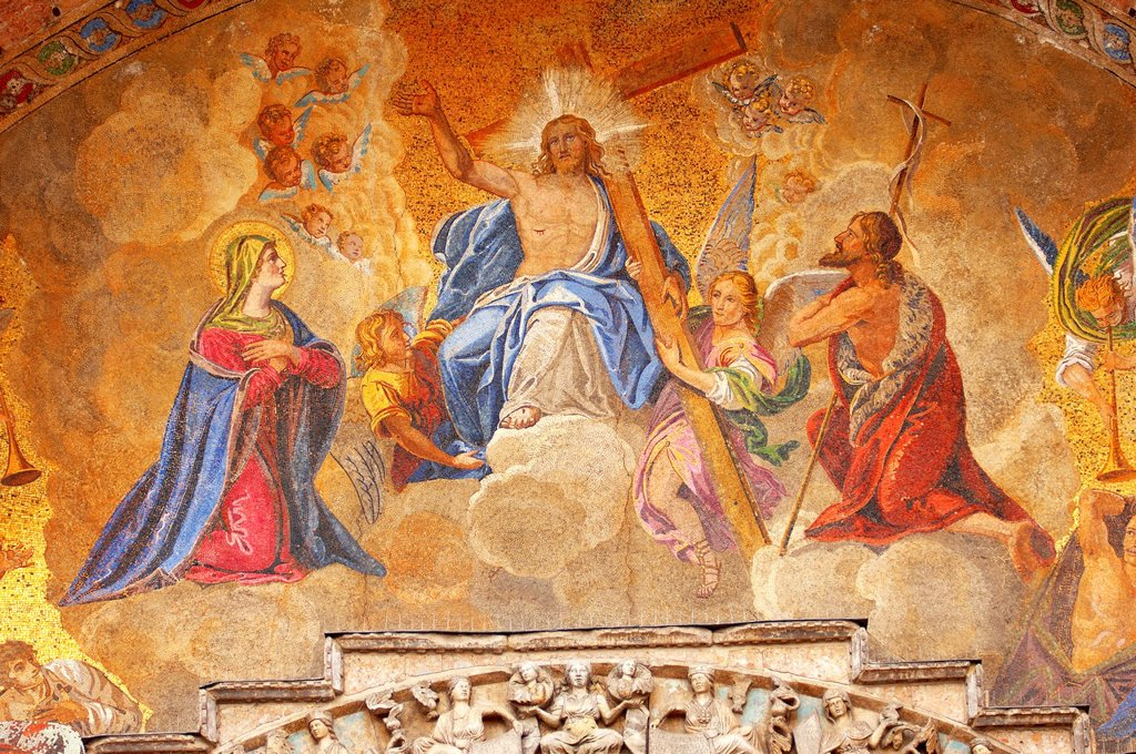Stock Photo: 1566-1170911 Mosaic on Saint Marks Basilica -Ascension of Christ - Venice - Italy