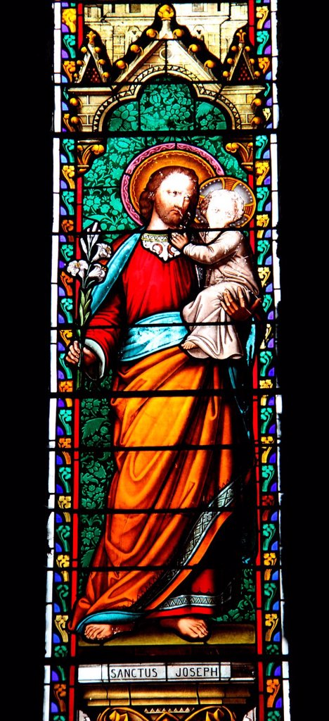 Stock Photo: 1566-1170954 Church of Charroux, Allier 03, Auvergne, France, stained-glass window of Saint Joseph