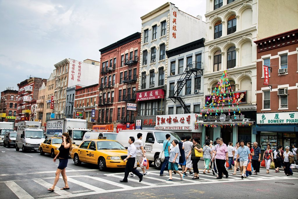 Bowery street, Chinatown, Manhattan, New York City  USA. : Stock Photo