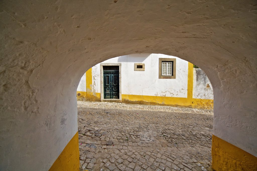Tunnel Leading to the Medieval Village of Obidos : Stock Photo
