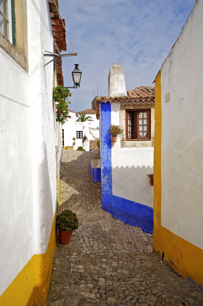 Stock Photo: 1566-1171341 Secluded Cobblestone Street in the Medieval Village of Obidos